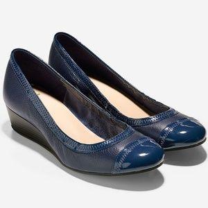 Cole Haan Elsie Cap-Tie Wedge Pump in Blazer Blue